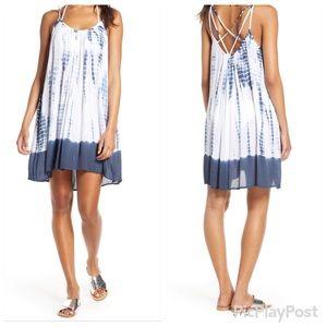 Elan White &Navy Tie-Dye Cover-Up Slip Dress-M